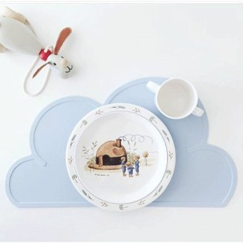 "Harga 27x48cm silicone Placemat Bar Mat baby clouds shape Plate Mat Table Mat Set Kitchen Hot Pads waterproof -Blue"" - intl"