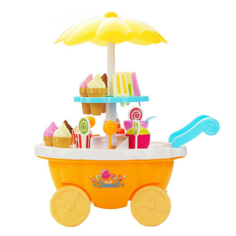 Harga 39Pcs Ice Cream &Amp; Sweets Cart Diy Childrens Pretend &Amp; Playmini Sweet Shop Toy Food Play Set With Lights And Sounds(Yellow) - intl