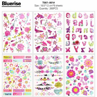 WXS 260Pcs Fish Flowers Alphabet Letters Series Waterproof Temporary Tattoos Stickers Book DIY Body Painting 6 Sheets/Book Special Design Body Art Decals Tatouage - intl