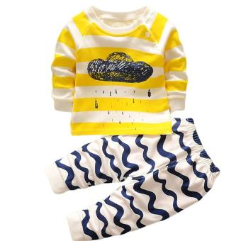 Harga LALANG Baby Boy Girl 2Pcs Clothing Set Cartoon Cloud Long Sleeve Top + Pants Pajamas Underwear Suit S(73cm) (Multicolor) - intl