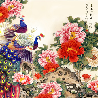 Harga [Yi Chen] adult 500 piece wooden jigsaw puzzle decorative painting paintings painting Peacock meticulous painting Peony