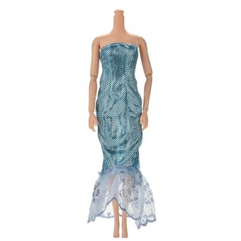 "Harga Jetting Buy Fashion Sequin Sky Blue Mermaid Dress for 11"" Barbies Dolls"