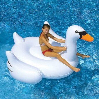 Harga 150*150*86cm Big White Swan Inflatable Boat Lounge Fun Floating Raft Pool Party Floats Pool Toy - intl