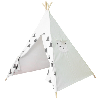 Black Tree Printed Children Cotton Canvas Teepee With Four Poles - intl
