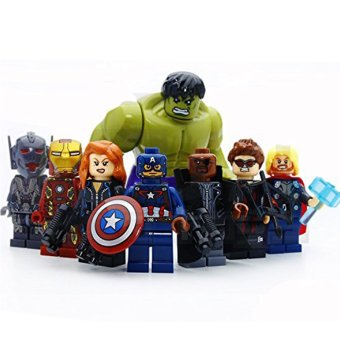 Harga 8 pcs/set Marvel and DC Avengers the Captain America,iron Man,Hulk,Thor,Hawkeye,Black Widow,Ultron,Nick Fury,Super Heroes Building Blocks Brick Figure Minifigures Toys Compatible with Lego Without Original Boxes (EXPORT)