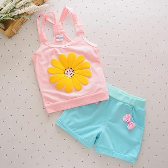 Harga Bear Fashion Baby Smile Sun Flower Girls Clothing Kids Summer Clothes 2pcs Set - intl