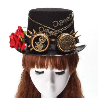 Harga (Hand Made) Unisex Steampunk Gear Glasses Hat Floral Black Top Hat Vintage Party Hats (For Female) - intl