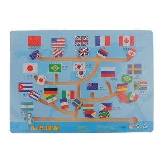 BolehDeals Wooden National Flags Slide Matching Maze Puzzle Board Game Toy for Kids - intl