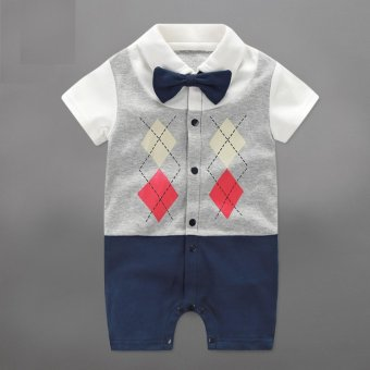 Harga Infant Newborn Baby Boy Rompers Summer Geometric Style Gentleman Bow One-piece Tie Boy Suits - intl