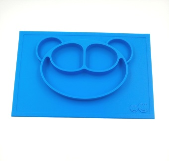 Baby Placemat and Plate/Tray with Suction different color&patterns Silicone Placemat Plate for kids/toddlers 38*25cm Place mats Blue