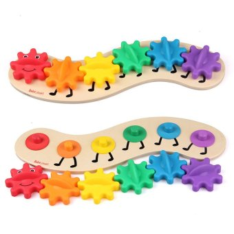 Harga 35CM Kids Colorful Gear Caterpillar Toys Wooden toy Educational Toys Wood Intelligence Baby DIY Toy - intl