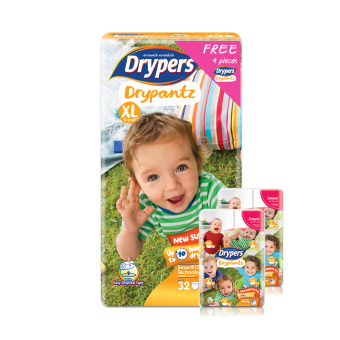 Harga Drypers Drypantz XL 32s x 4 packs (12 - 17kg) 128pcs/box With Free 4 Packs!