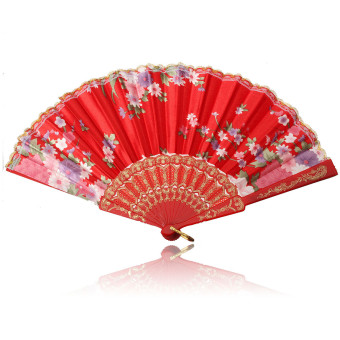 Harga Chinese Japanese Lace Silk Folding Hand Held Dance Fan Flower Party Wedding Gift