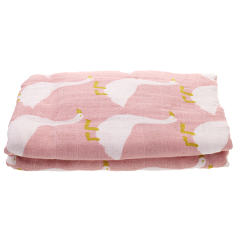 Harga MagiDeal Baby Boys Girls Muslin Blanket Two-layers Swaddle Wrap Pink Swan - intl