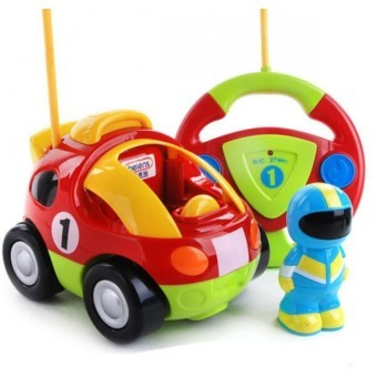 Harga Children's cartoon remote control police car race car baby toys Music Automotive Radio Control Cars(red)