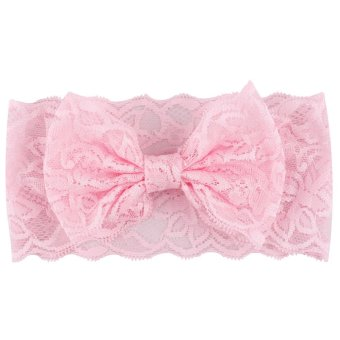 Harga Okdeals Kids Girl Baby Headband Toddler Lace Bow Flower Hair Band Accessories Headwear Pink