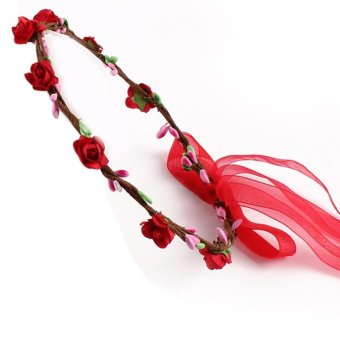 Flower Headband Seaside Headwear for Baby Girls (Red) - intl