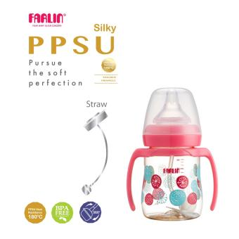 Harga Farlin Silky PPSU Wide Neck Feeding Bottle with Straw 180cc