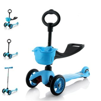 Harga CMAX 3IN1 Flashing LED Wheels Kids Scooter (Blue)