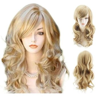 Harga Sexy Golden Blond Long Big Wave Mix Full Volume Curly Wavy Wig Long Bang Women's Girl Hot Full Hair Wigs Cosplay Costume Party Anime Wigs (Gold) - intl
