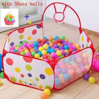 Harga Baby Kids Collapsible Ocean Ball Pool Tent with 50pcs Colorful Balls