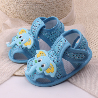 Harga Baby boy Flats Toddler First Walker Shoes Soft-soled ( blue)
