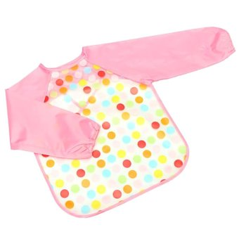 Harga Cocotina Baby Toddler Long Sleeve Feeding Art Smock Bib Dots Apron for Child Kid – Pink