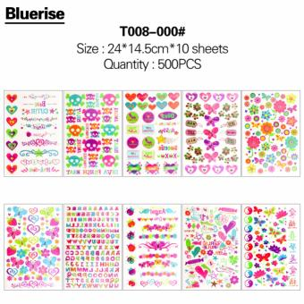 WXS New Nouveau 500Pcs Different Flowers Series Waterproof Temporary Tattoos Stickers Book DIY Body Painting Bonus Glitter Tattoos 10 Sheets/Book Special Design Body Art Decals Tatouage - intl