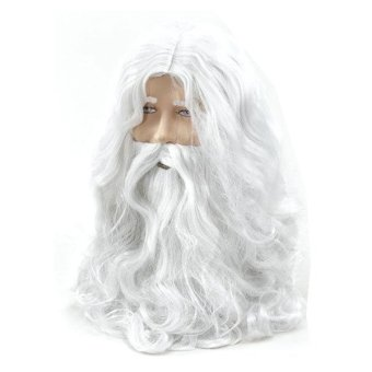 Harga Deluxe White Santa Fancy Dress Costume Wizard Wig and Beard Set Christmas Halloween - Intl