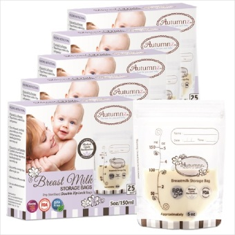 Harga Autumnz - 5 Boxes of Double ZipLock Breastmilk Storage Bag 5oz (25 bags/box)