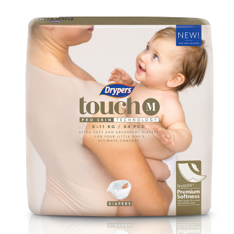 Harga Drypers Touch M 64s x 4 packs (6 - 11kg) 256pcs/box
