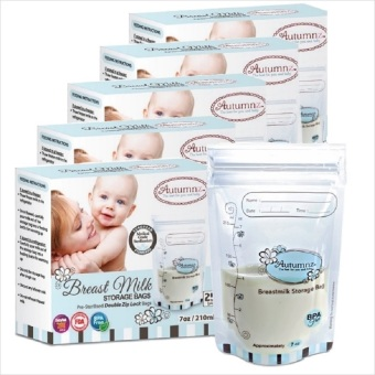 Harga Autumnz - 5 Boxes of Double ZipLock Breastmilk Storage Bag 7oz (25 bags/box)