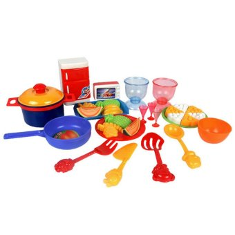 Harga 31Pcs Dinner Food Dishes Tableware Pretend Kids Kitchen Toys (EXPORT)