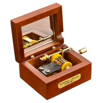 Harga Laxury Mini Size Creative Wooden 18-note Hand-crankMusical Box,Musical Toys,Tune:Kiss the Rain (EXPORT)