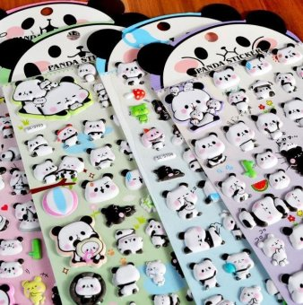 Harga High Service Cute Panda Design Stickers Set 4 PCS DIY Cartoon Stickers Self Adhesive Stick On Diary Book - intl