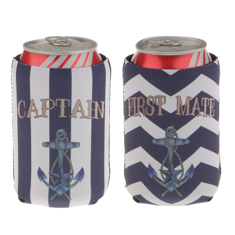 "Harga MagiDeal 1Pair of ""CAPTAIN & FIRST MATE ANCHOR"" Stubby Beer Bottle Tin Can Cooler Sleeve"