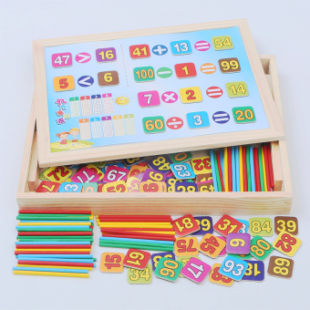 Learning box wooden early childhood educational sketchpad with numbers puzzle