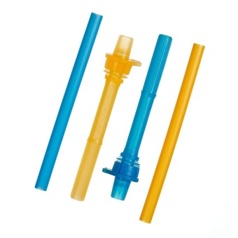 Munchkin 2pcs/Pk Click Lock Replacement Straws, Orange/Blue