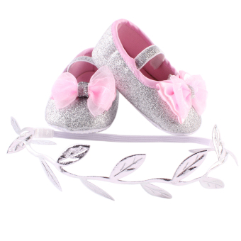 Newborn Baby Girls Shoes Headband Set