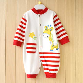 Newborn cotton yellow spring and summer men and women romper crawling clothes