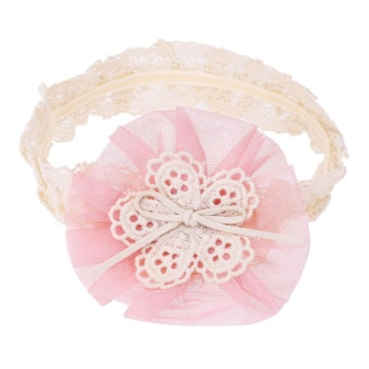 Newborn Infant Baby Girls Gauze Flower Bowknot Headbands LaceHeadwear - intl