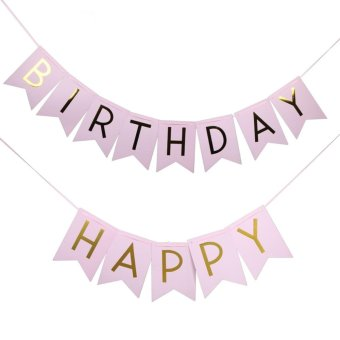 Pink Happy Birthday Party Flags Banner Party Decoration Photo Props - intl