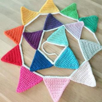 Pure handmade kindergarten triangle flag multicolor small flags