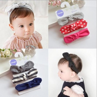 Set Toddler Girls Kids Baby Bow Hairband Headband Turban Knot HeadWrap - intl