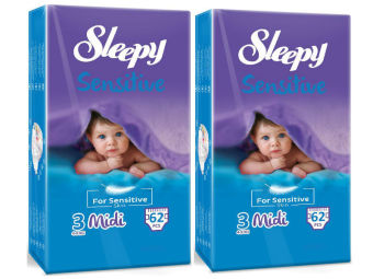 SLEEPY DIAPER 2 PACKS SALE MIDI (M) 4-9kg (124 pcs.)