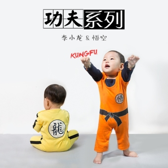 Spring and Autumn models baby Li Xiaolong style leotard baby rompernewborn children Wu Kong clothes seven Dragon Ball clothes - 2