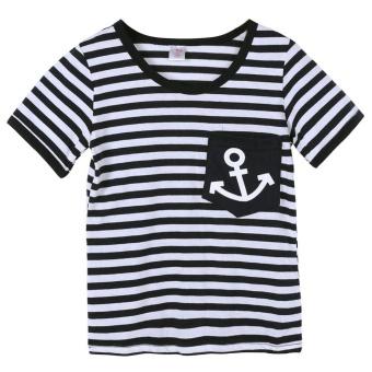 Summer Clothing Sets Kids Pants + Top Navy Stripe Tracksuit (90) -intl - 2