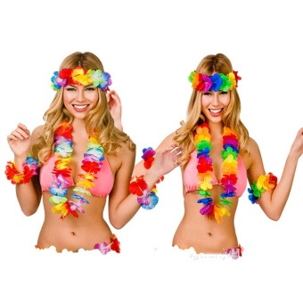 Yika Hawaiian Set Hula 4 Piece Flower Garland Set Lei Set Hula Beach Hen Party - intl