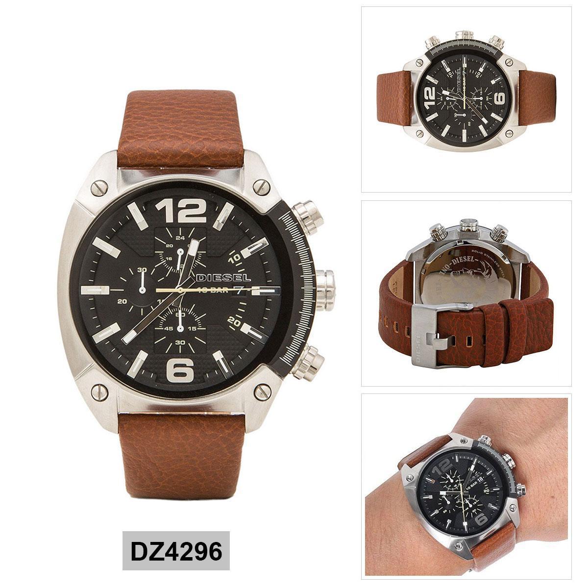 สอนใช้งาน  กาญจนบุรี Authentic Diesel Brown Stainless-Steel Case Leather Strap Mens DZ4296 2 Years Warranty