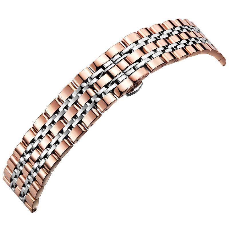 Ou Ruite tali jam tangan Pria dan wanita Baja Anti Karat Tali jam tangan Otomatis Butterfly
